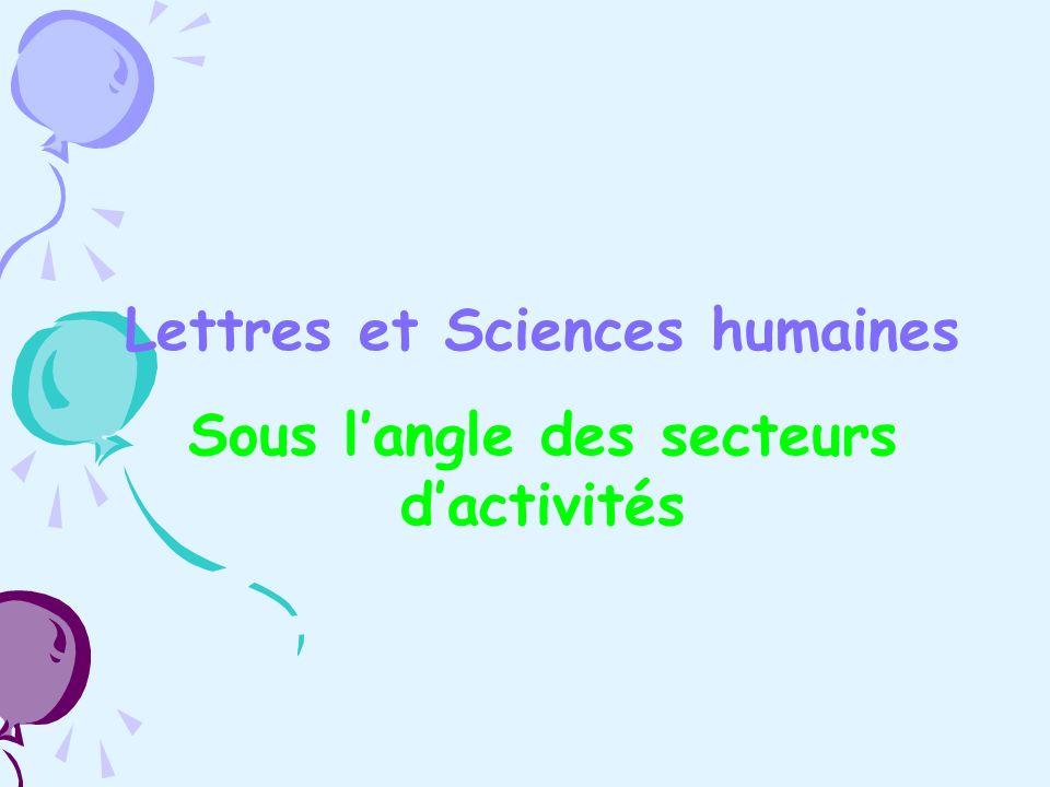 Lettres et Sciences humaines Sous langle des secteurs dactivités