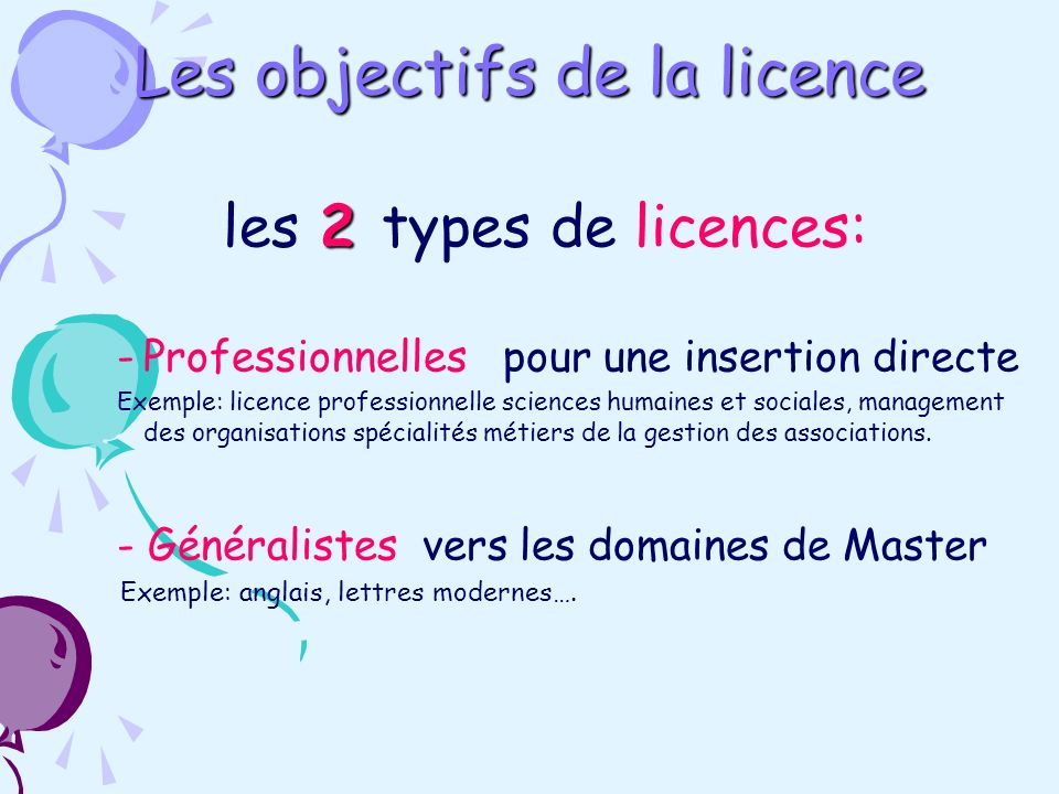 2 les 2 types de licences: -Professionnelles pour une insertion directe Exemple: licence professionnelle sciences humaines et sociales, management des organisations spécialités métiers de la gestion des associations.