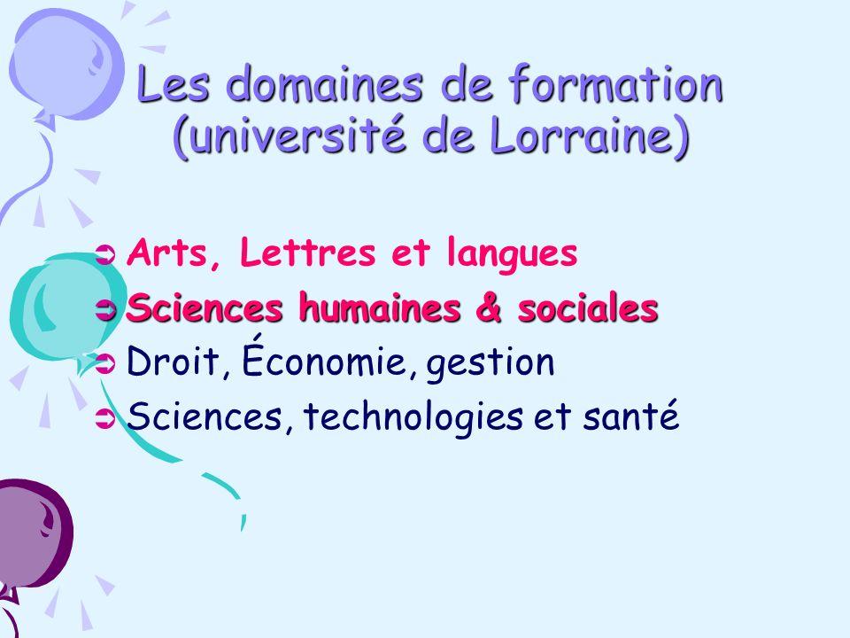 Les domaines de formation (université de Lorraine) Arts, Lettres et langues Sciences humaines & sociales Sciences humaines & sociales Droit, Économie, gestion Sciences, technologies et santé