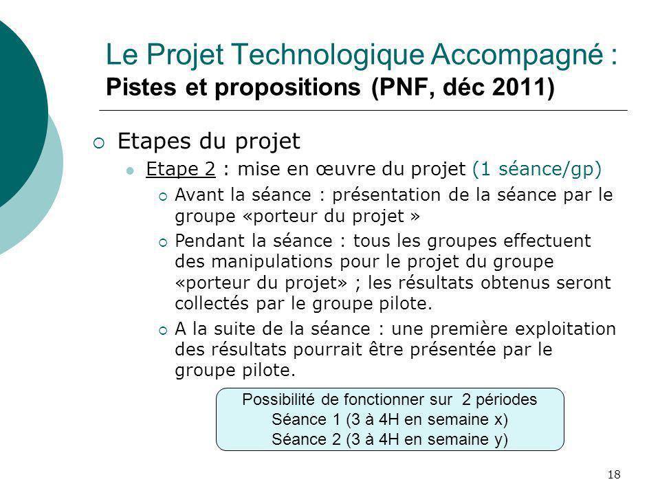 18 Le Projet Technologique Accompagné : Pistes et propositions (PNF, déc 2011) Etapes du projet Etape 2 : mise en œuvre du projet (1 séance/gp) Avant