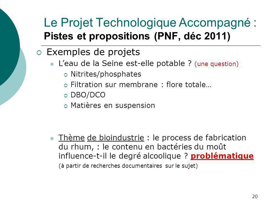 20 Le Projet Technologique Accompagné : Pistes et propositions (PNF, déc 2011) Exemples de projets Leau de la Seine est-elle potable ? (une question)