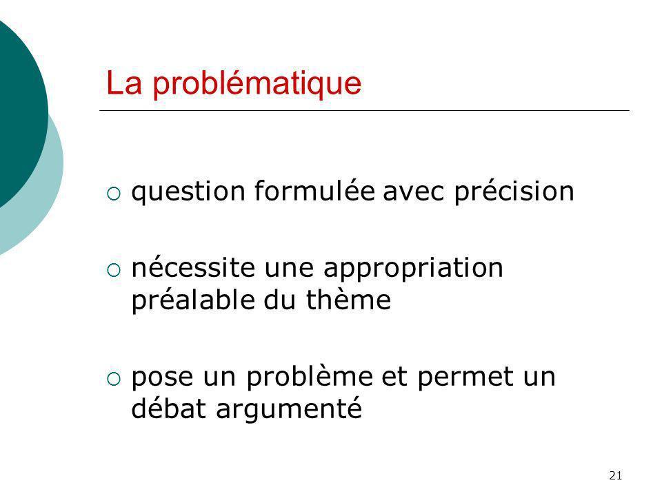 21 La problématique question formulée avec précision nécessite une appropriation préalable du thème pose un problème et permet un débat argumenté