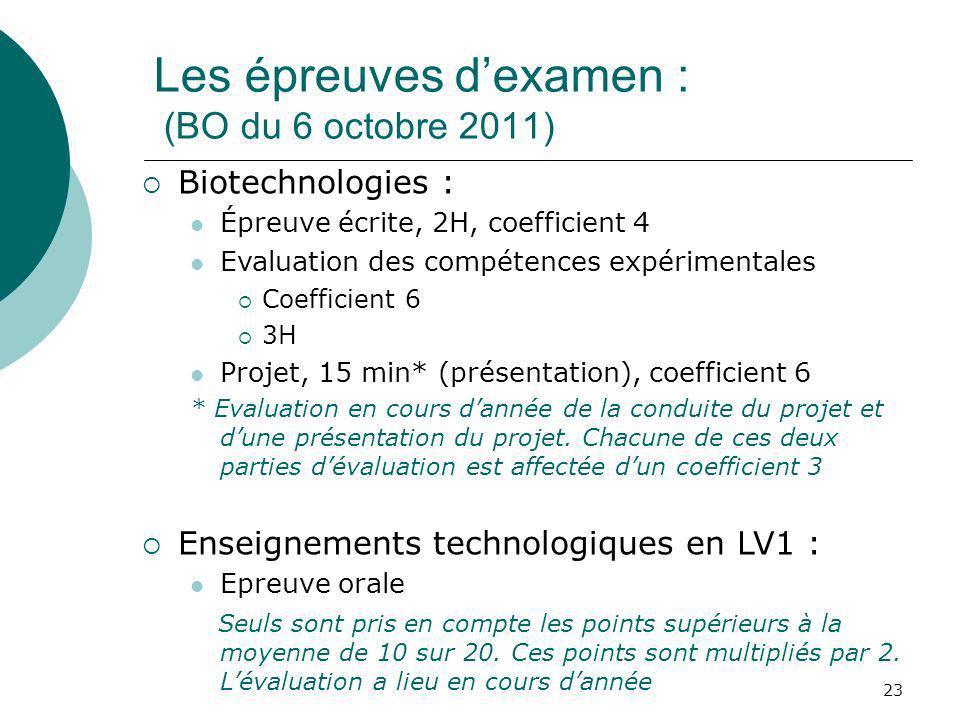 23 Les épreuves dexamen : (BO du 6 octobre 2011) Biotechnologies : Épreuve écrite, 2H, coefficient 4 Evaluation des compétences expérimentales Coeffic