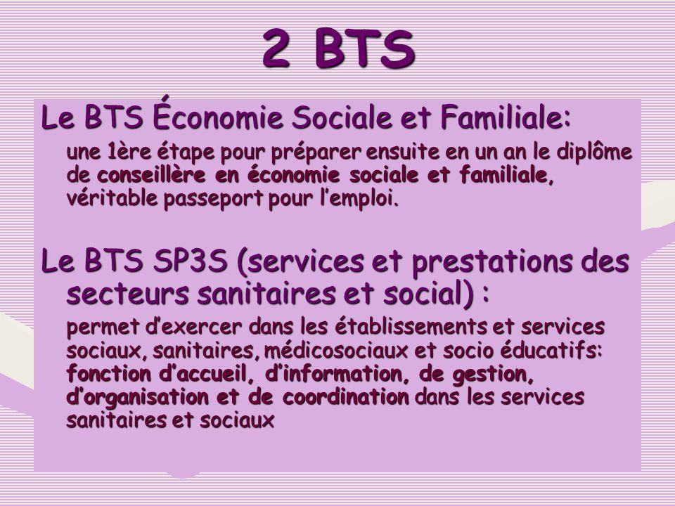 2 BTS Le BTS Économie Sociale et Familiale: une 1ère étape pour préparer ensuite en un an le diplôme de conseillère en économie sociale et familiale,