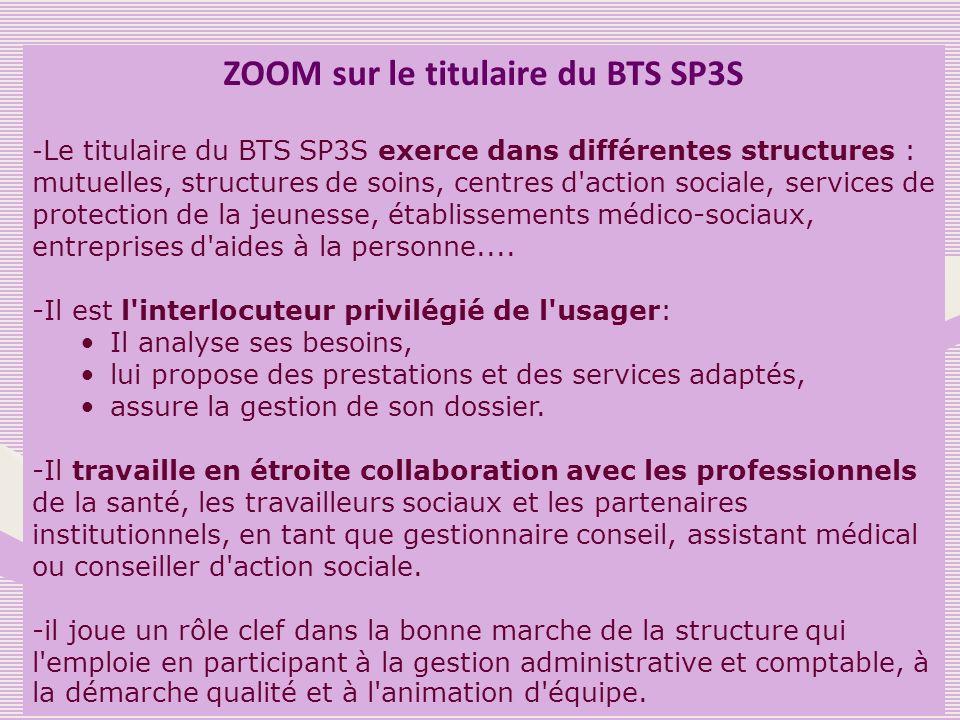 ZOOM sur le titulaire du BTS SP3S - Le titulaire du BTS SP3S exerce dans différentes structures : mutuelles, structures de soins, centres d'action soc