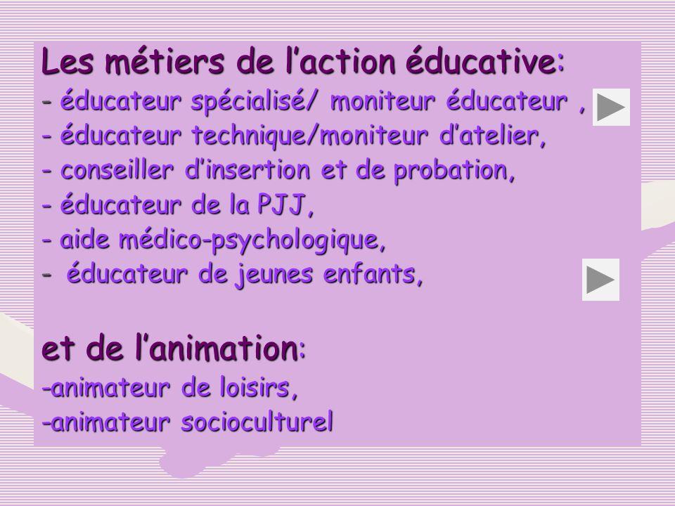 Les métiers de laction éducative: - éducateur spécialisé/ moniteur éducateur, - éducateur technique/moniteur datelier, - conseiller dinsertion et de p
