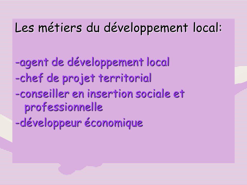 Les métiers du développement local: -agent de développement local -chef de projet territorial -conseiller en insertion sociale et professionnelle -dév