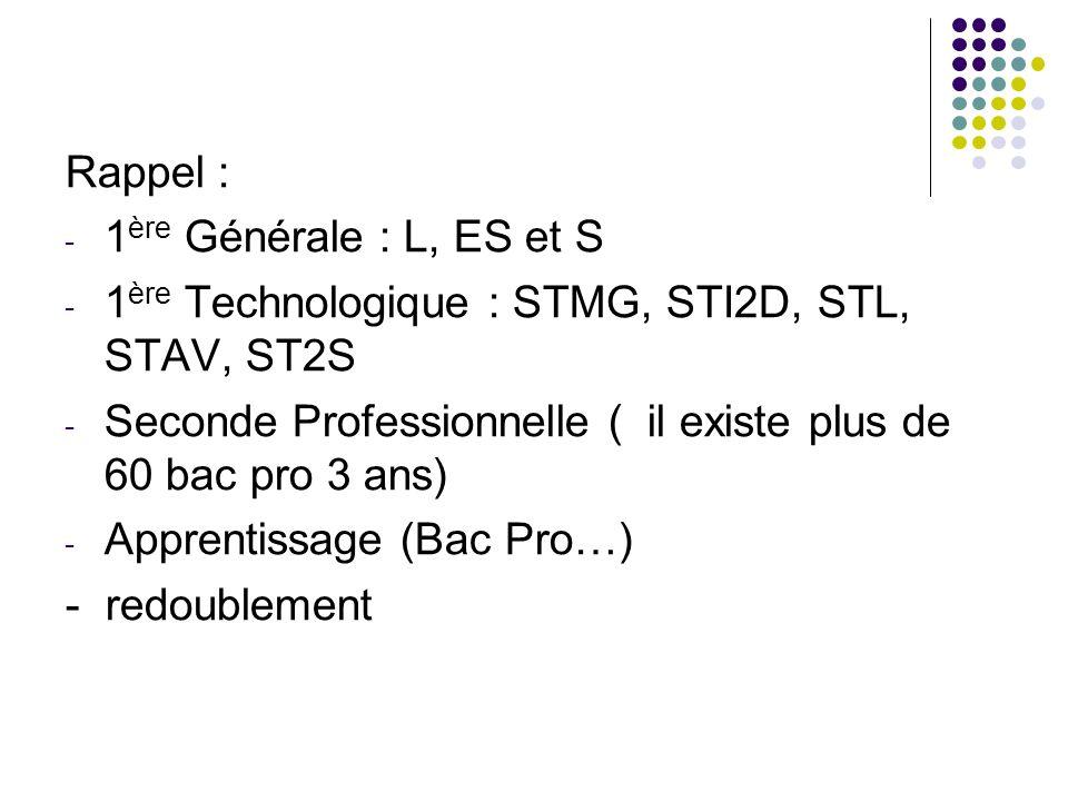 Rappel : - 1 ère Générale : L, ES et S - 1 ère Technologique : STMG, STI2D, STL, STAV, ST2S - Seconde Professionnelle ( il existe plus de 60 bac pro 3 ans) - Apprentissage (Bac Pro…) - redoublement