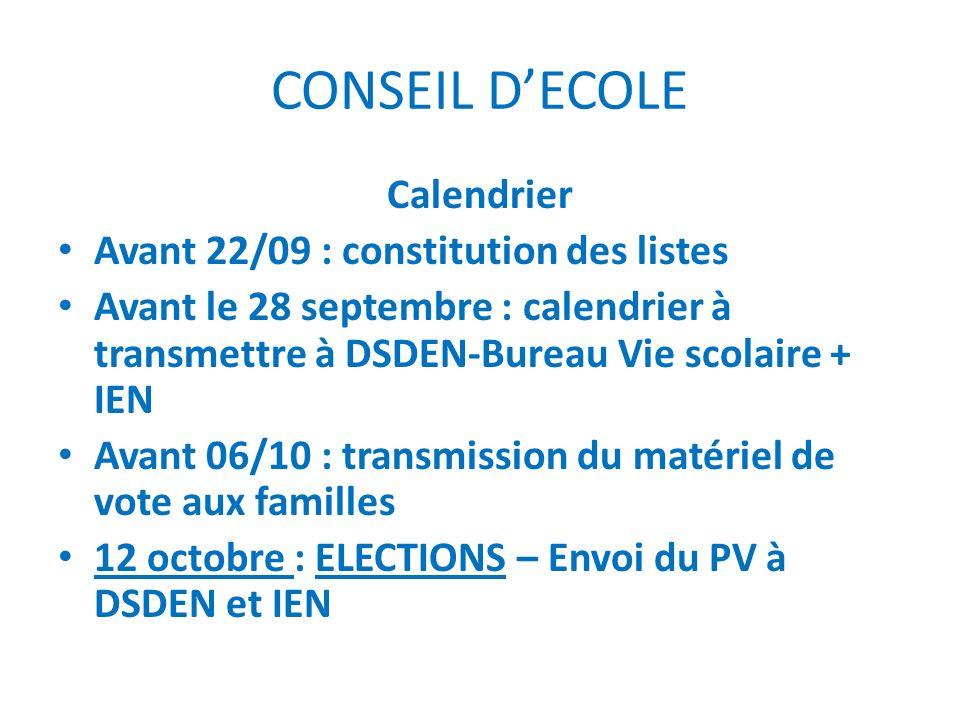 CONSEIL DECOLE Calendrier Avant 22/09 : constitution des listes Avant le 28 septembre : calendrier à transmettre à DSDEN-Bureau Vie scolaire + IEN Ava