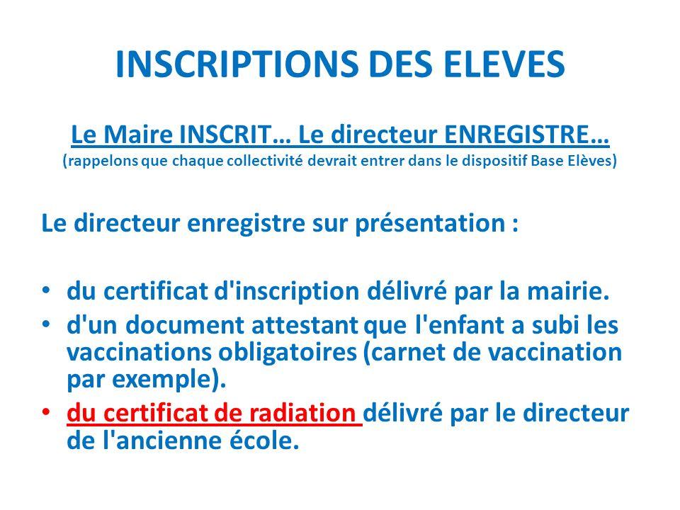 INSCRIPTIONS DES ELEVES Le Maire INSCRIT… Le directeur ENREGISTRE… (rappelons que chaque collectivité devrait entrer dans le dispositif Base Elèves) L