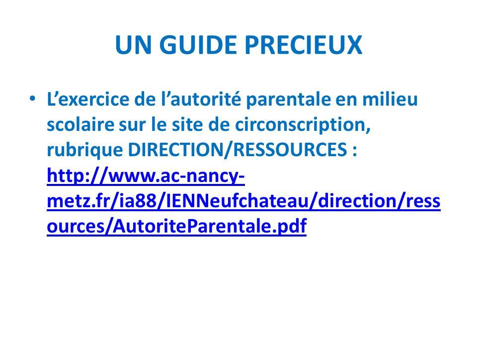 UN GUIDE PRECIEUX Lexercice de lautorité parentale en milieu scolaire sur le site de circonscription, rubrique DIRECTION/RESSOURCES : http://www.ac-na