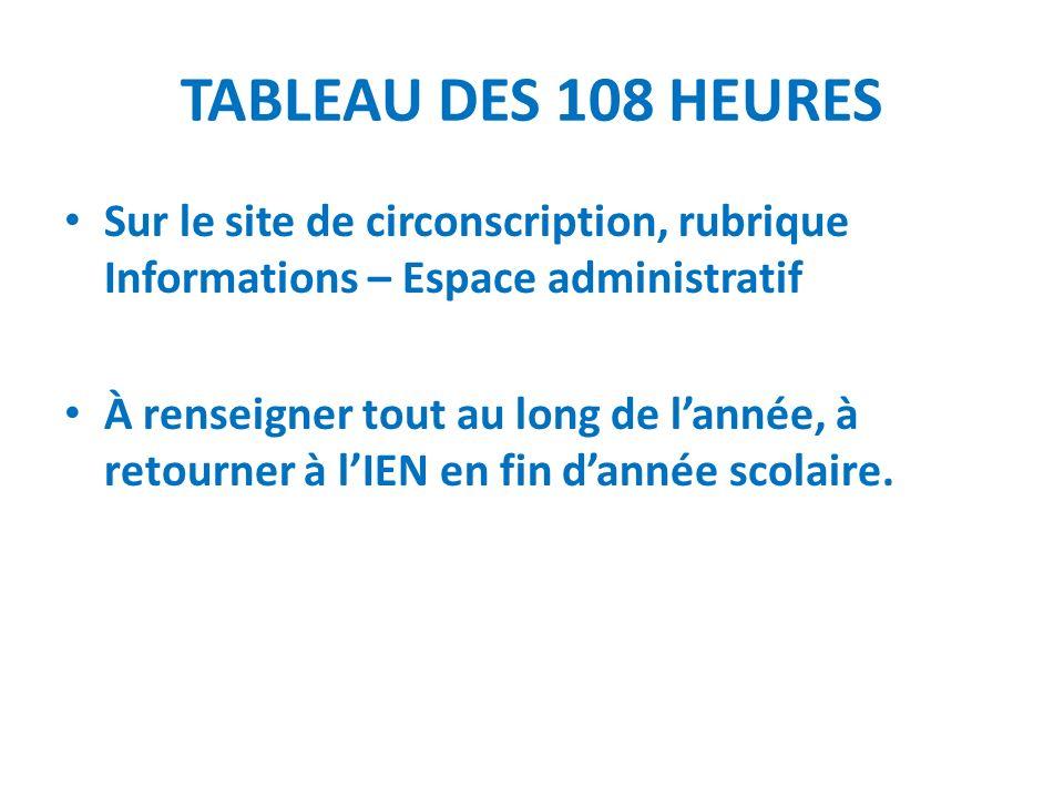 TABLEAU DES 108 HEURES Sur le site de circonscription, rubrique Informations – Espace administratif À renseigner tout au long de lannée, à retourner à