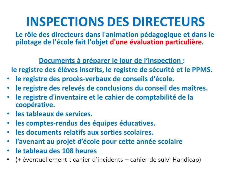 INSPECTIONS DES DIRECTEURS Le rôle des directeurs dans l'animation pédagogique et dans le pilotage de l'école fait l'objet d'une évaluation particuliè