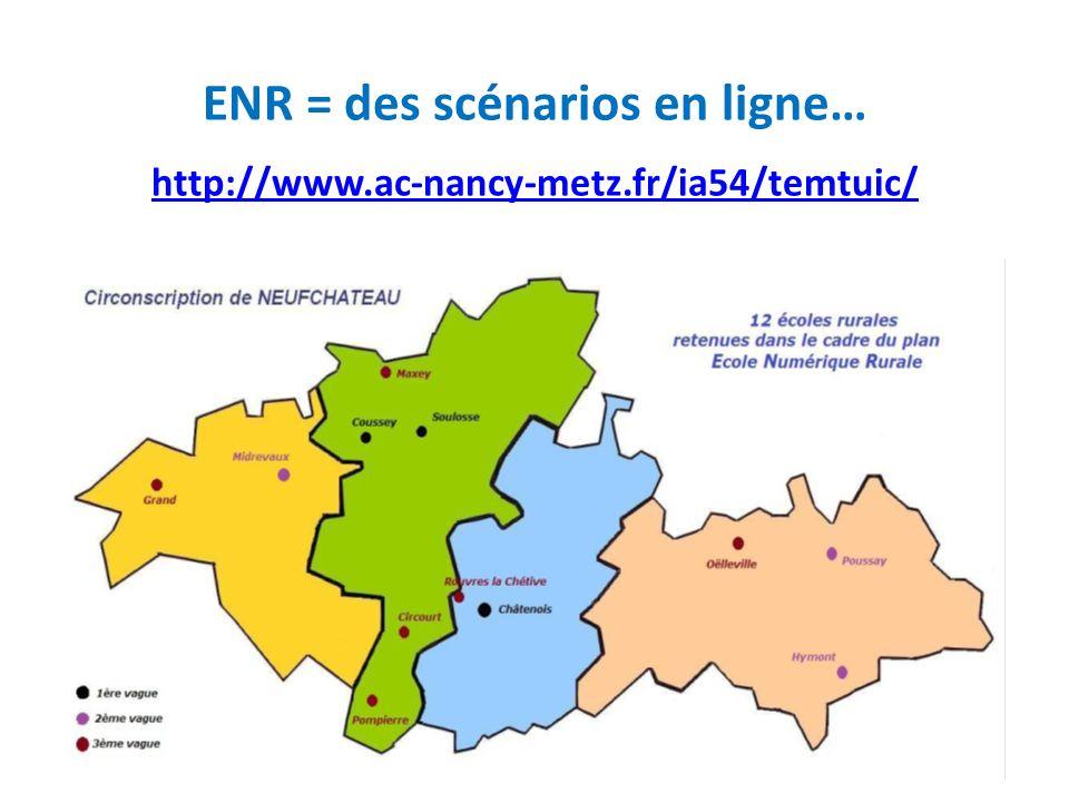 ENR = des scénarios en ligne… http://www.ac-nancy-metz.fr/ia54/temtuic/ http://www.ac-nancy-metz.fr/ia54/temtuic/