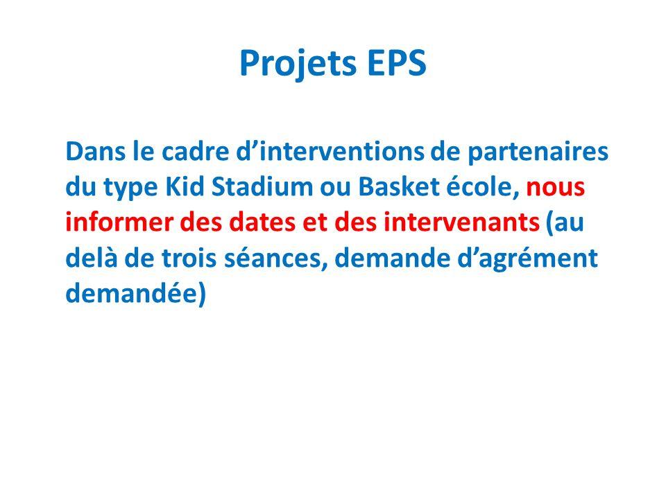 Projets EPS Dans le cadre dinterventions de partenaires du type Kid Stadium ou Basket école, nous informer des dates et des intervenants (au delà de t