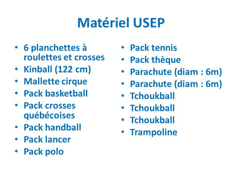 Matériel USEP 6 planchettes à roulettes et crosses Kinball (122 cm) Mallette cirque Pack basketball Pack crosses québécoises Pack handball Pack lancer