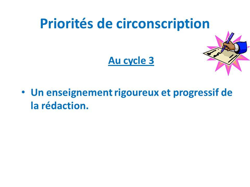 Priorités de circonscription Au cycle 3 Un enseignement rigoureux et progressif de la rédaction.