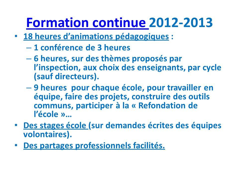 Formation continue Formation continue 2012-2013 18 heures danimations pédagogiques : – 1 conférence de 3 heures – 6 heures, sur des thèmes proposés pa
