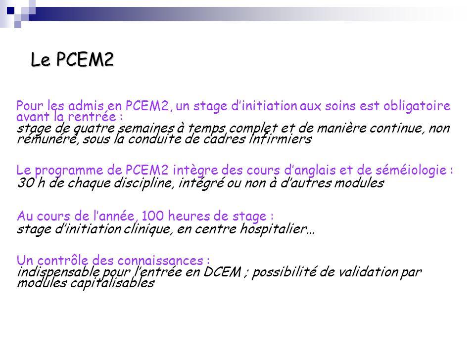 Le PCEM2 Pour les admis en PCEM2, un stage dinitiation aux soins est obligatoire avant la rentrée : stage de quatre semaines à temps complet et de man