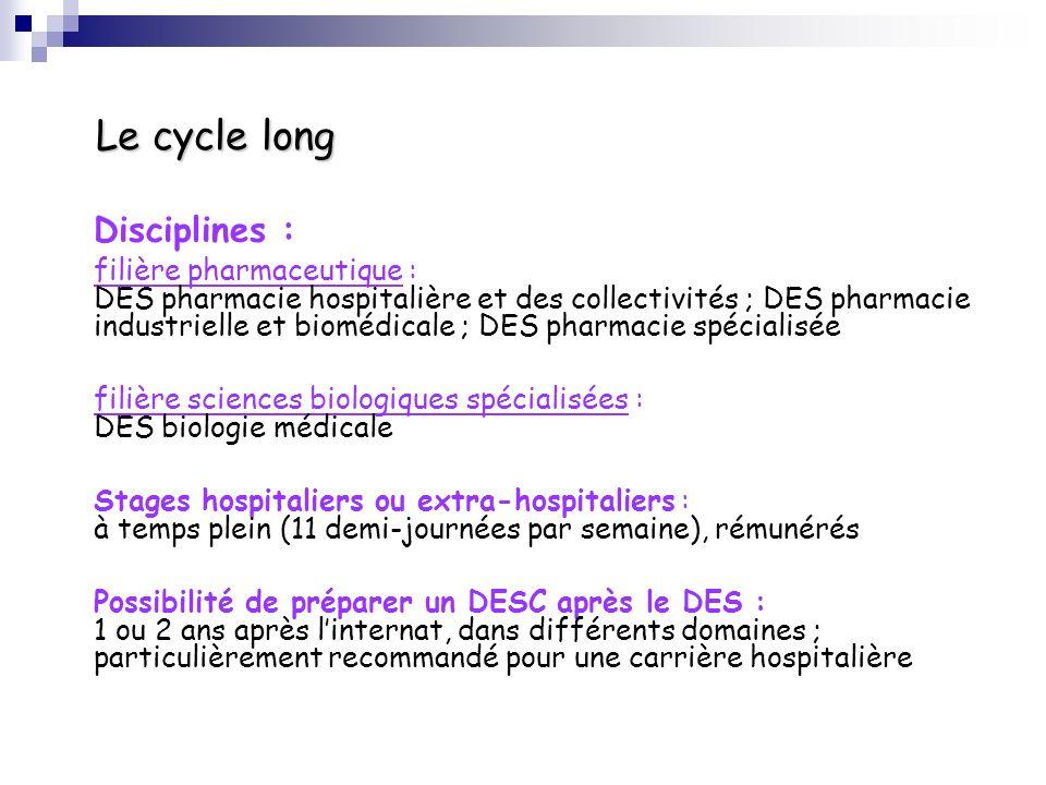 Le cycle long Disciplines : filière pharmaceutique : DES pharmacie hospitalière et des collectivités ; DES pharmacie industrielle et biomédicale ; DES