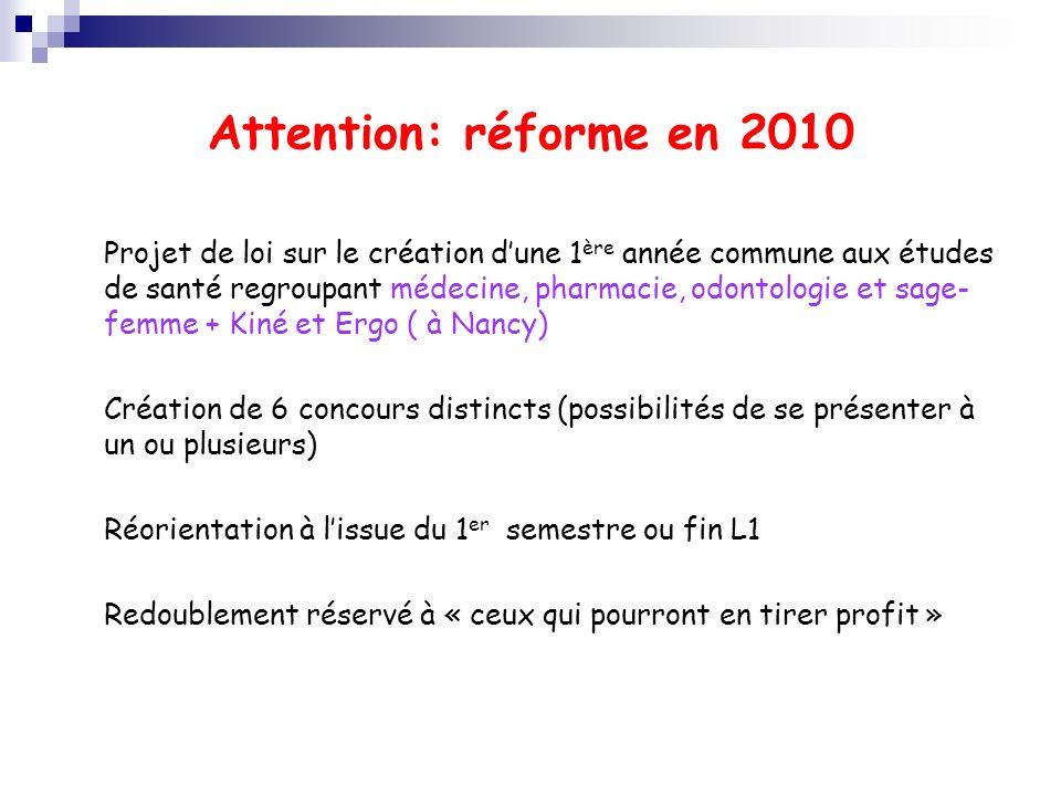 Attention: réforme en 2010 Projet de loi sur le création dune 1 ère année commune aux études de santé regroupant médecine, pharmacie, odontologie et s