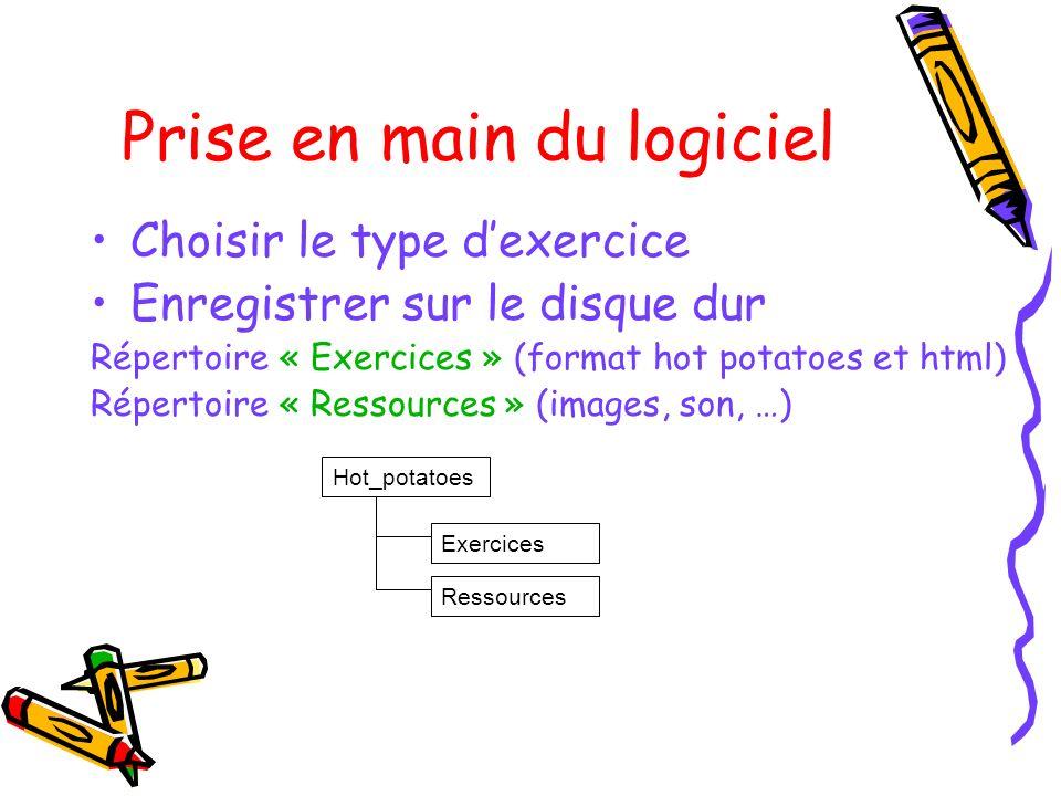 Prise en main du logiciel Choisir le type dexercice Enregistrer sur le disque dur Répertoire « Exercices » (format hot potatoes et html) Répertoire «
