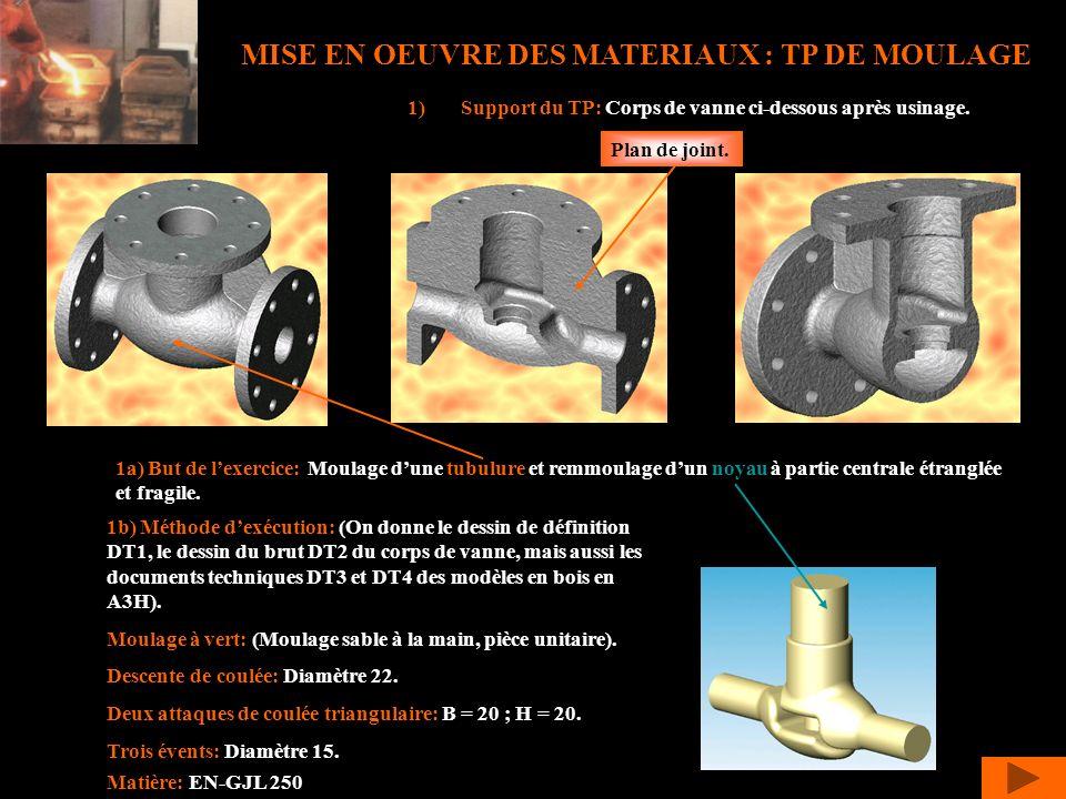 MISE EN OEUVRE DES MATERIAUX : TP DE MOULAGE 1)Support du TP: Corps de vanne ci-dessous après usinage. 1a) But de lexercice: Moulage dune tubulure et