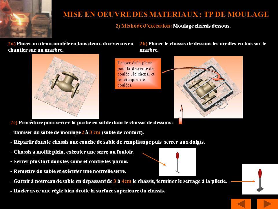 MISE EN OEUVRE DES MATERIAUX : TP DE MOULAGE 2c) Procédure pour serrer la partie en sable dans le chassis de dessous: - Tamiser du sable de moulage 2