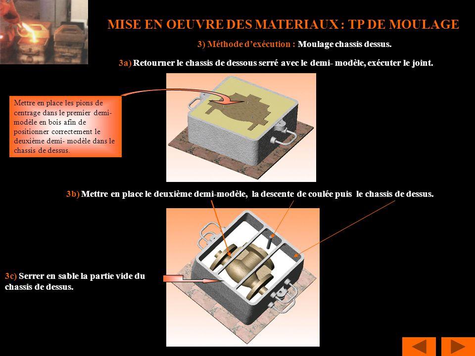 MISE EN OEUVRE DES MATERIAUX : TP DE MOULAGE 3) Méthode dexécution : Moulage chassis dessus. 3a) Retourner le chassis de dessous serré avec le demi- m