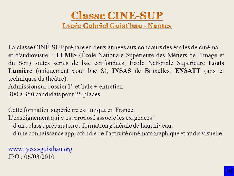 La classe CINÉ-SUP prépare en deux années aux concours des écoles de cinéma et d'audiovisuel : FEMIS (École Nationale Supérieure des Métiers de l'Imag