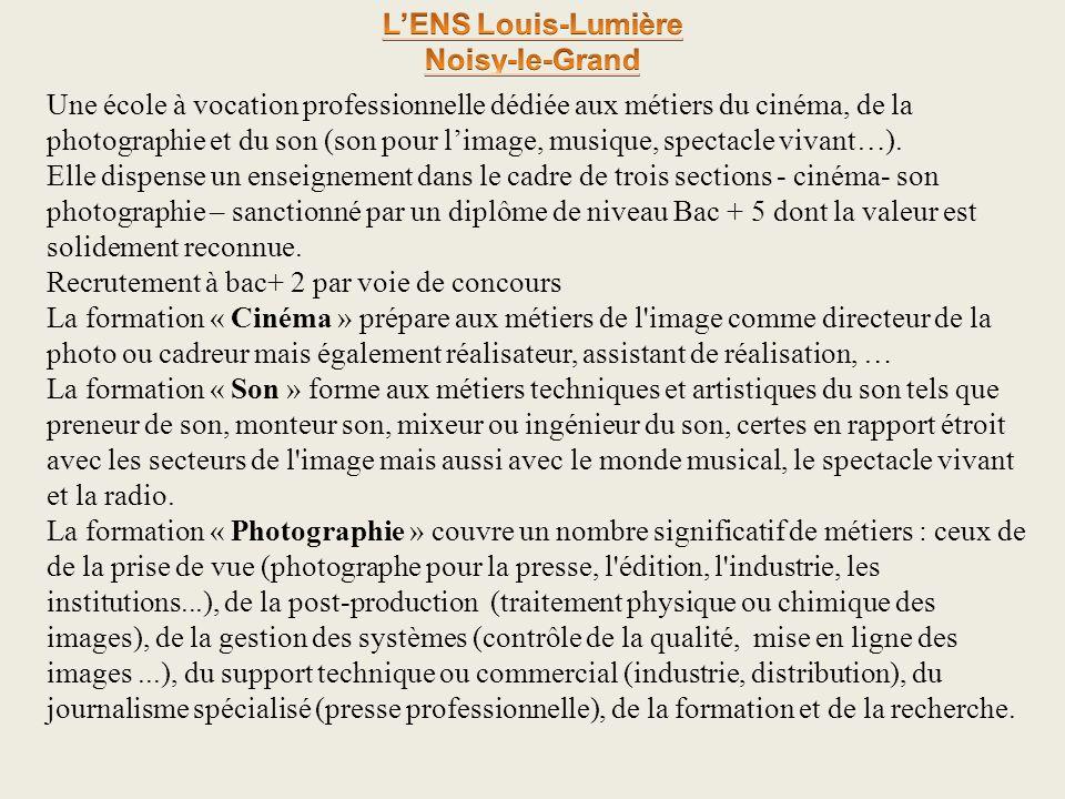 Une école à vocation professionnelle dédiée aux métiers du cinéma, de la photographie et du son (son pour limage, musique, spectacle vivant…). Elle di
