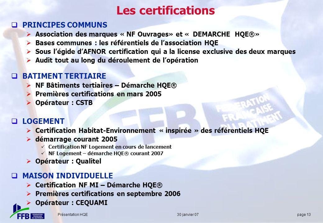 Présentation HQE 30 janvier 07 page 13 Les certifications PRINCIPES COMMUNS Association des marques « NF Ouvrages» et « DEMARCHE HQE®» Bases communes