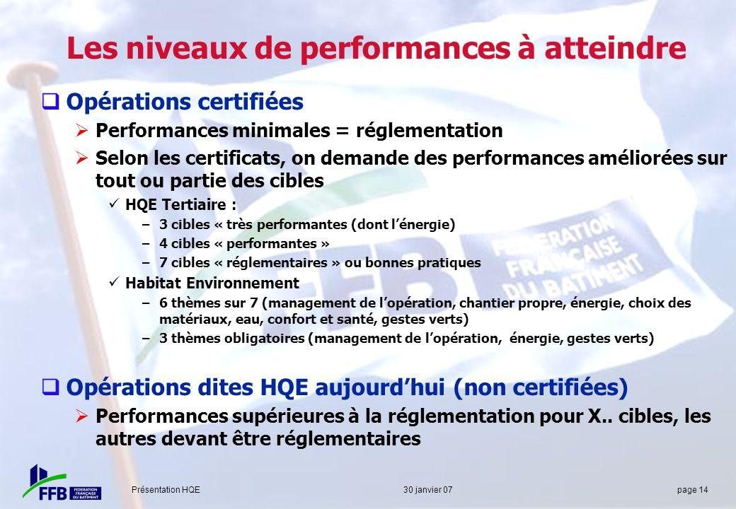 Présentation HQE 30 janvier 07 page 14 Les niveaux de performances à atteindre Opérations certifiées Performances minimales = réglementation Selon les