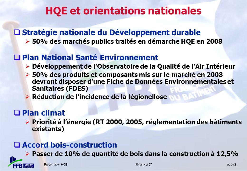 Présentation HQE 30 janvier 07 page 2 HQE et orientations nationales Stratégie nationale du Développement durable 50% des marchés publics traités en d