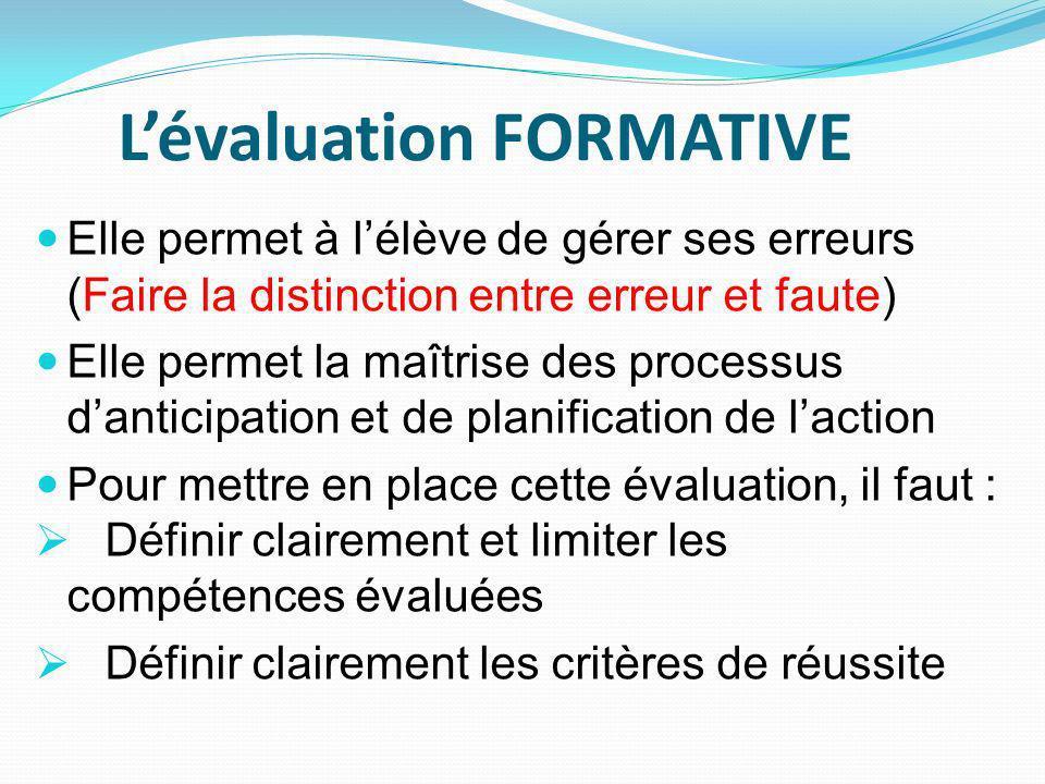Lévaluation FORMATIVE Elle permet à lélève de gérer ses erreurs (Faire la distinction entre erreur et faute) Elle permet la maîtrise des processus danticipation et de planification de laction Pour mettre en place cette évaluation, il faut : Définir clairement et limiter les compétences évaluées Définir clairement les critères de réussite