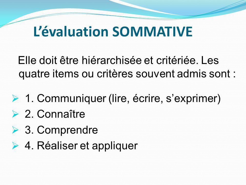 Lévaluation SOMMATIVE Elle doit être hiérarchisée et critériée.