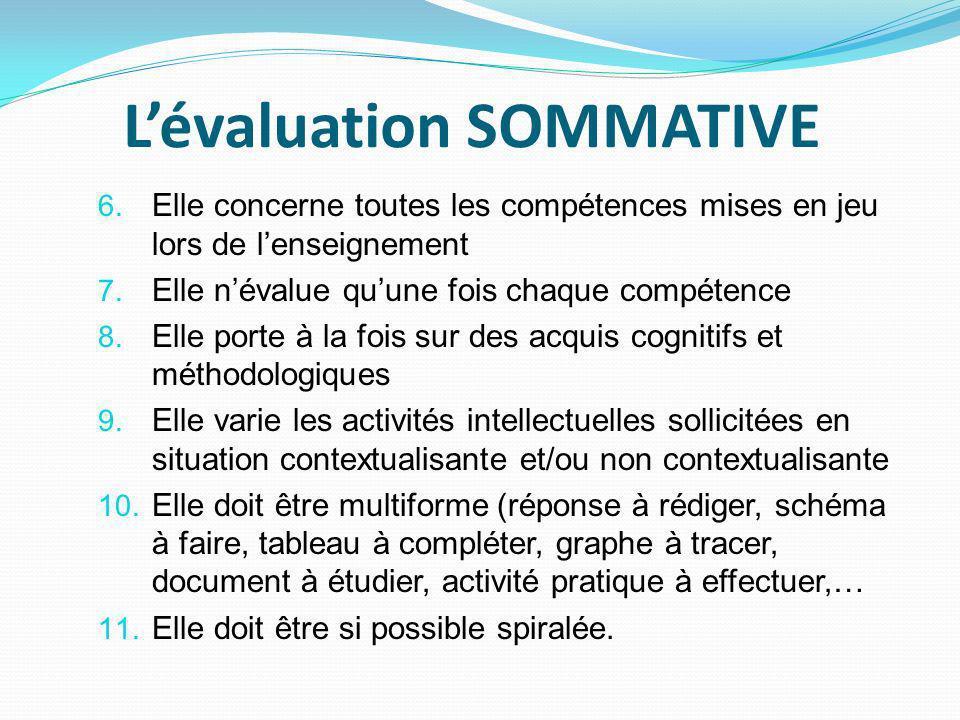 Lévaluation SOMMATIVE 6.Elle concerne toutes les compétences mises en jeu lors de lenseignement 7.