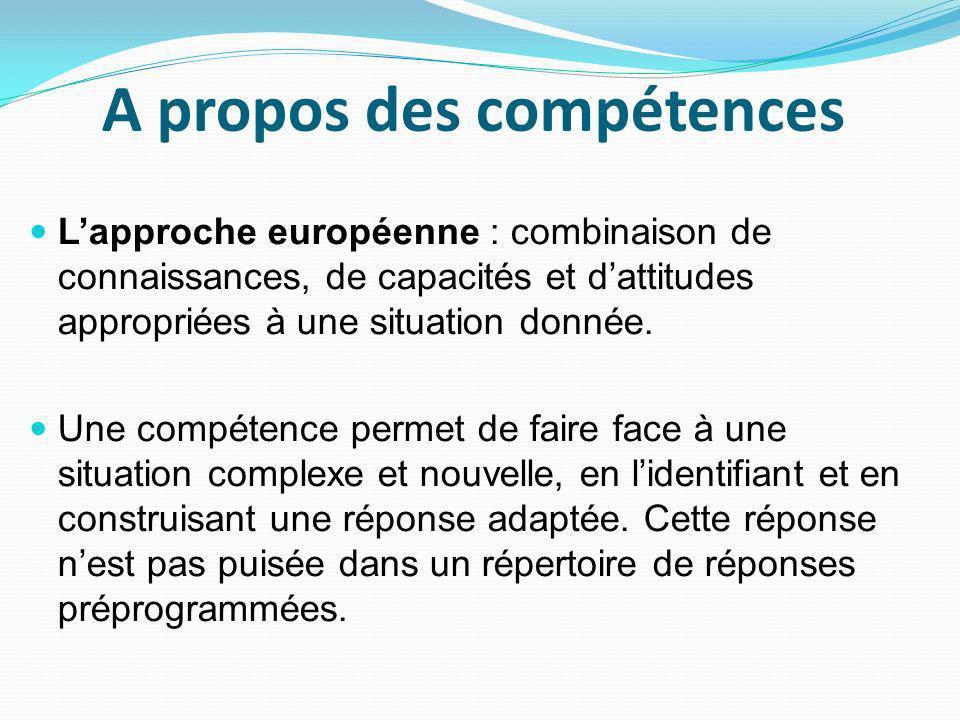 A propos des compétences Lapproche européenne : combinaison de connaissances, de capacités et dattitudes appropriées à une situation donnée.
