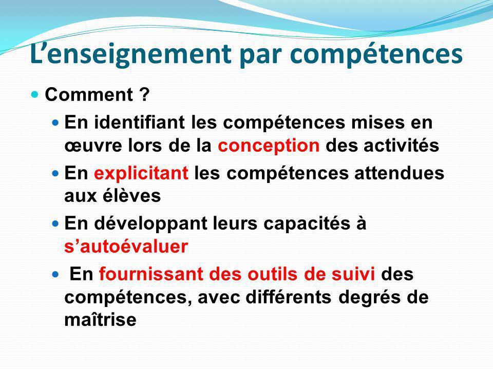 Lenseignement par compétences Comment .