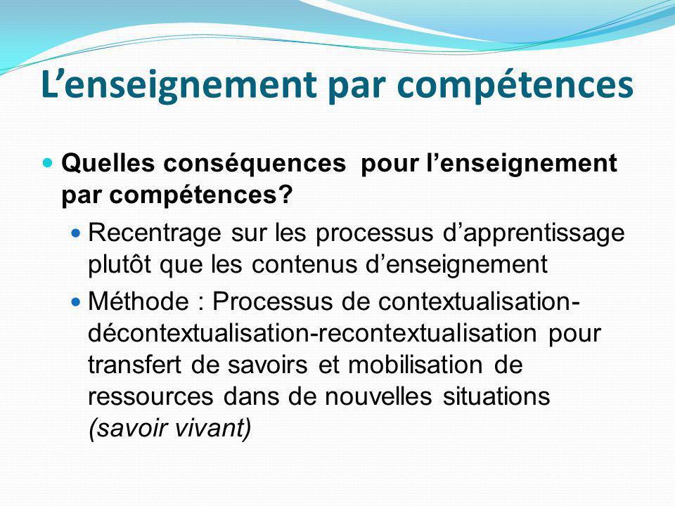Lenseignement par compétences Quelles conséquences pour lenseignement par compétences.