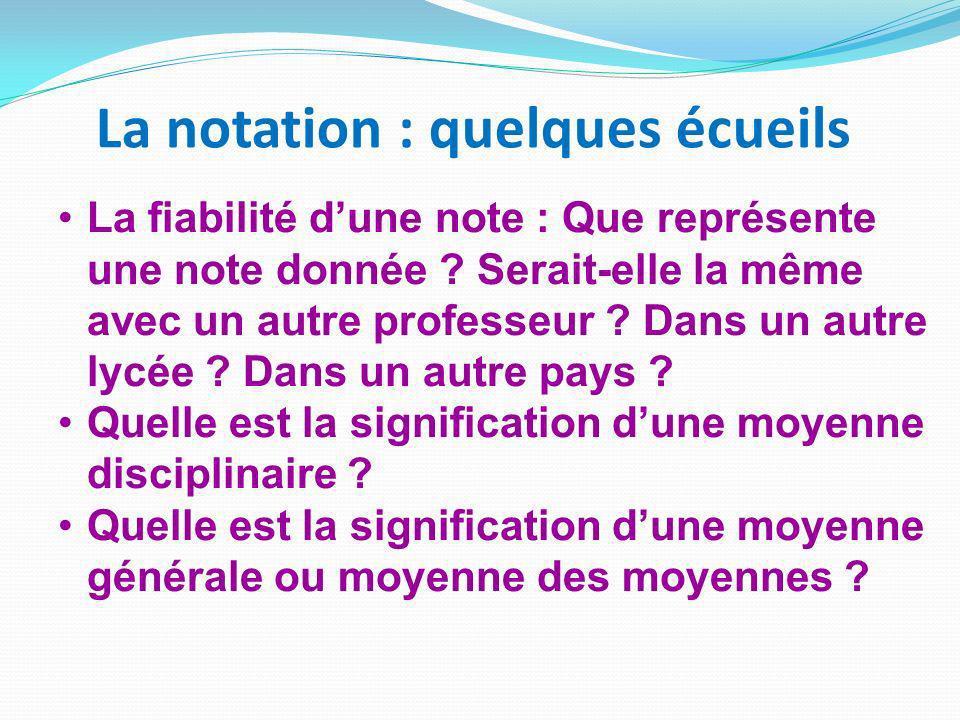 La notation : quelques écueils La fiabilité dune note : Que représente une note donnée .