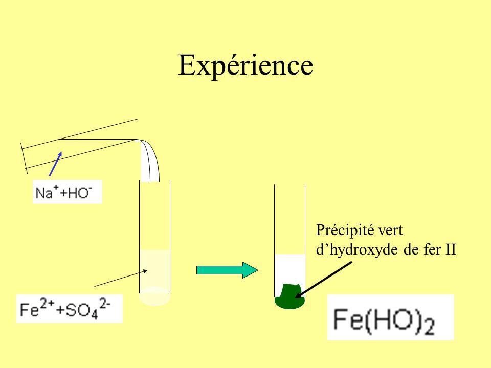Mise en évidence des ions Ion Fer II Fe 2+