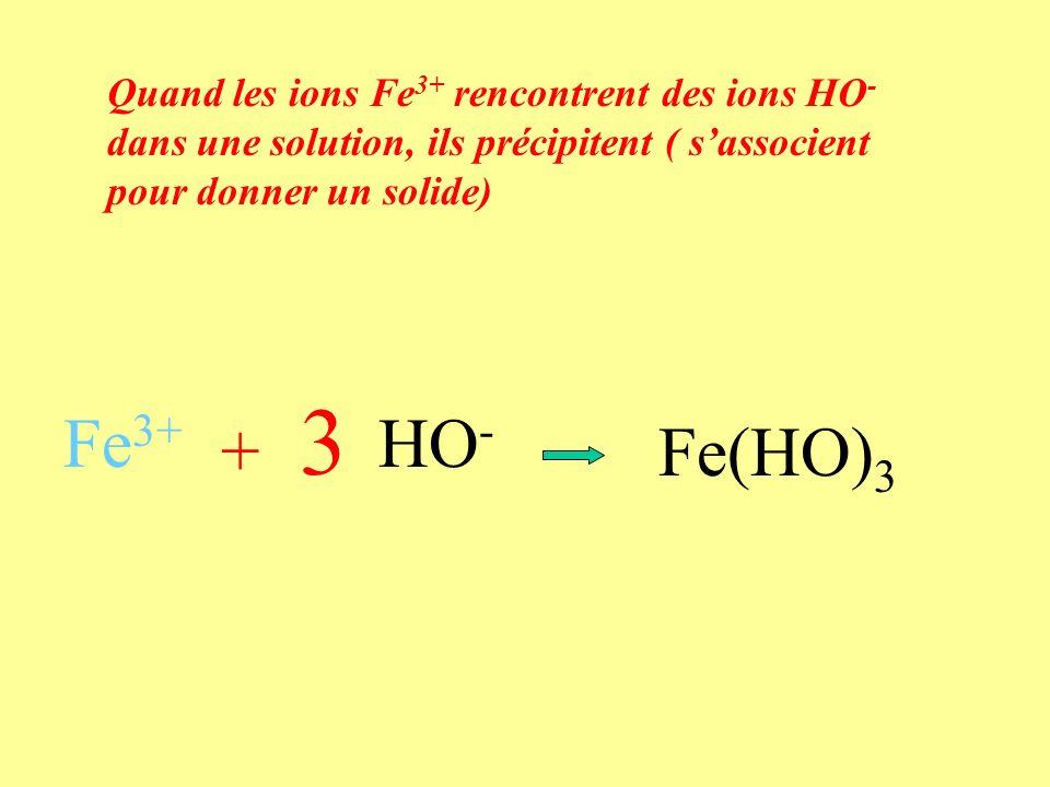 Quand les ions Fe 3+ rencontrent des ions HO - dans une solution, ils précipitent ( sassocient pour donner un solide) Fe 3+ + HO - Fe(HO) 3 3