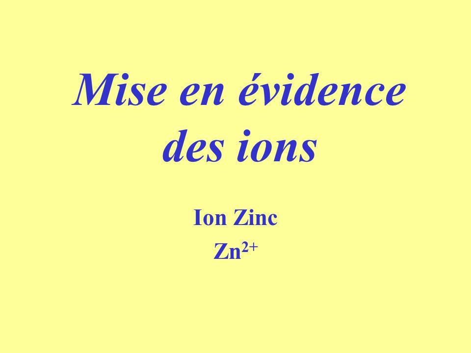 Mise en évidence des ions Ion Zinc Zn 2+
