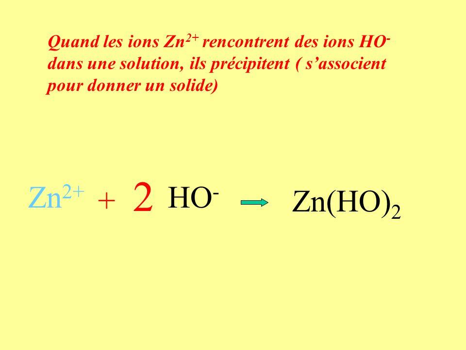 Quand les ions Zn 2+ rencontrent des ions HO - dans une solution, ils précipitent ( sassocient pour donner un solide) Zn 2+ + HO - Zn(HO) 2 2