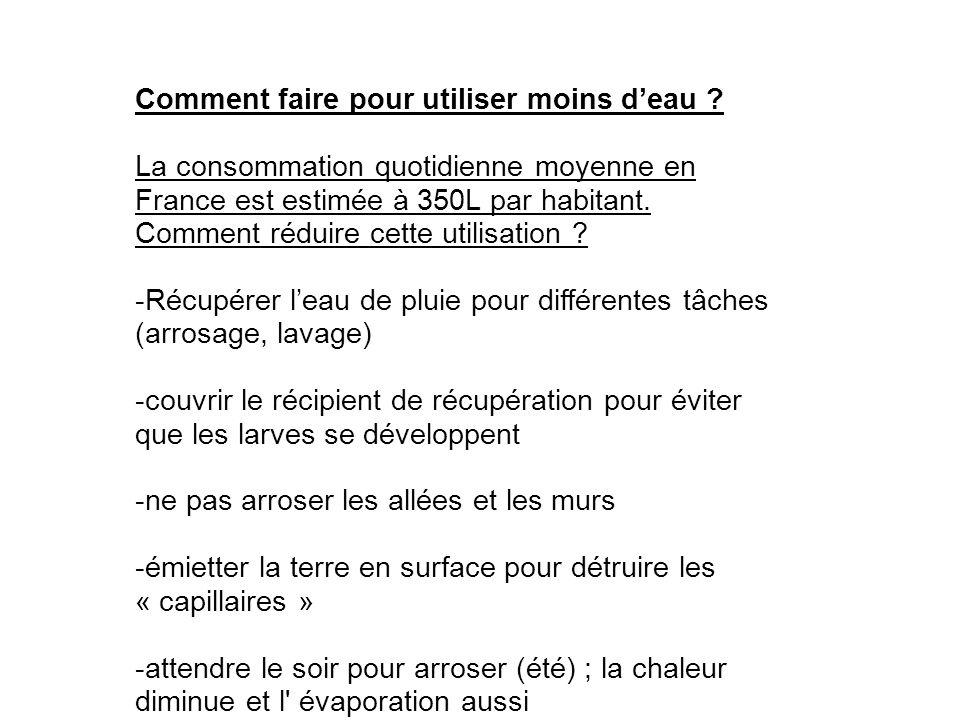 Comment faire pour utiliser moins deau ? La consommation quotidienne moyenne en France est estimée à 350L par habitant. Comment réduire cette utilisat