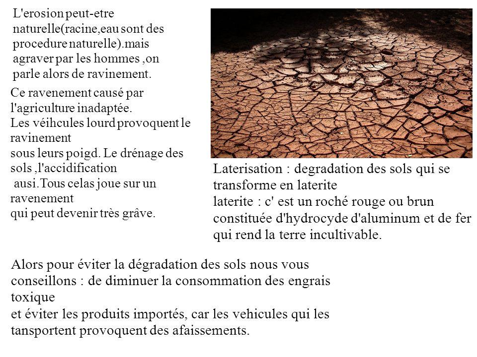 L'erosion peut-etre naturelle(racine,eau sont des procedure naturelle).mais agraver par les hommes,on parle alors de ravinement. Alors pour éviter la