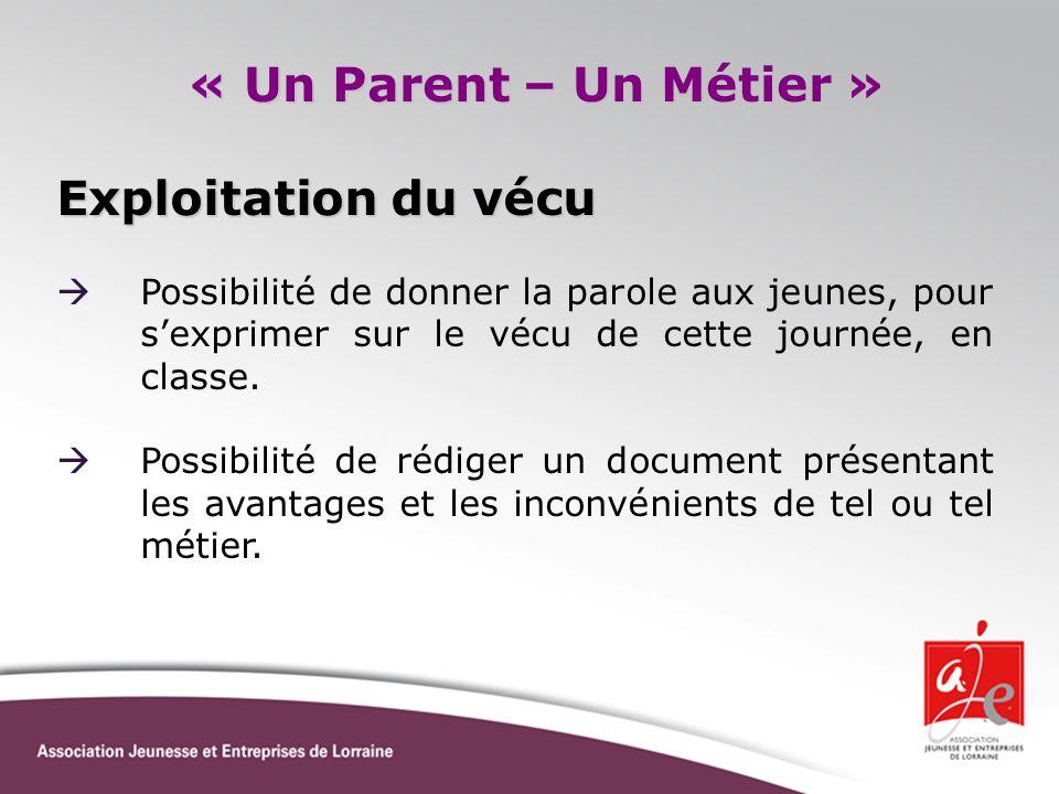 « Un Parent – Un Métier » Exploitation du vécu Possibilité de donner la parole aux jeunes, pour sexprimer sur le vécu de cette journée, en classe. Pos