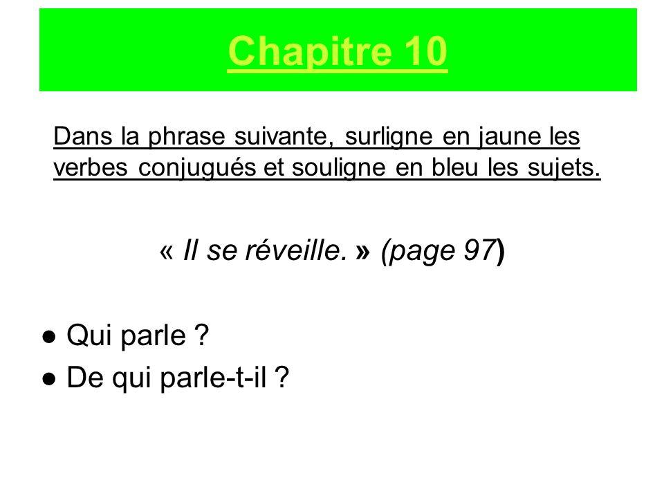 Dans la phrase suivante, surligne en jaune les verbes conjugués et souligne en bleu les sujets. « Il se réveille. » (page 97) Qui parle ? De qui parle