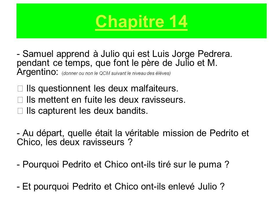 - Samuel apprend à Julio qui est Luis Jorge Pedrera. pendant ce temps, que font le père de Julio et M. Argentino: (donner ou non le QCM suivant le niv